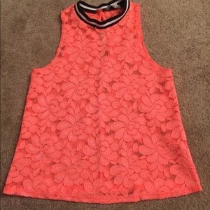 Charlotte Ruse, coral lace halter type tank
